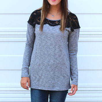 Lace Shoulder Tap Knit {Charcoal}
