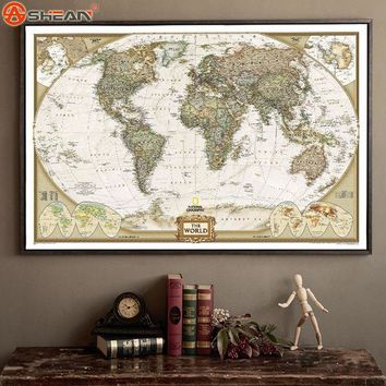 DCK9M2 Vintage Retro Matte Kraft Paper World Map Antique Poster Wall Sticker Home Decora 72.5*47.5CM