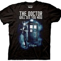 Doctor Who The Doctor Will See You Now Adult Black T-shirt