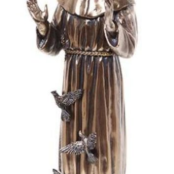 Saint Francis with Birds Birds Bronze Finish Statue 11.25H