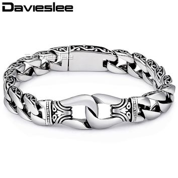 Davieslee Mens Bracelet Chain 316L Stainless Steel Punk Bracelets for Men Curved Silver Color Curb Chains Cuban Link 15mm LHB10
