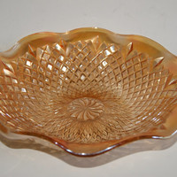 Vintage 1960s RAISED DIAMOND Pattern Marigold Carnival Glass Console Bowl Unmarked