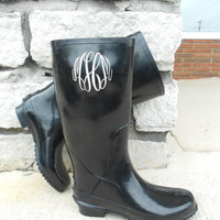Monogrammed Black Rain Boots, font shown Master Circle Available Jan 1st