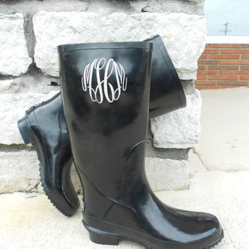 Monogrammed Black Rain Boots, font shown MASTER CIRCLE