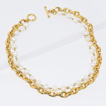 Double Strand Pearl & Oval Chain Layer Necklace