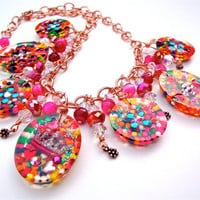 Resin candy charm necklace with crowns and rainbow sprinkles, - candy resin statement necklace - kawaii necklace by Sparkle City Jewelry