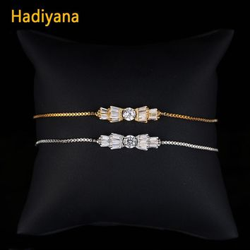 Hadiyana Fashion 2018 AAA Cubic Zirconia Bowknot Bracelet Making Kit New Shining Crystal Jewelry Bracelets For Sweet Lady  SL127