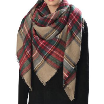 Amtal Women Stylish Warm Plaid Checkered Tartan Blanket Wrap Winter Scarf - Walmart.com