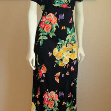 1990's 90's. Black Floral Maxi Dress. Keyhole. Short Sleeves. Boho. Asian Style. Small Medium 6 8