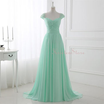 2016 Mint Long Bridesmaid Dress, Pearls Cap Sleeves Evening Dress, Sweetheart Pleated Maxi Dress, Chiffon Prom Dress (BM02)
