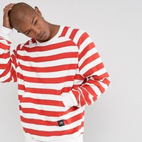 Sixth June Oversized Sweatshirt In White With Red Stripes at asos.com