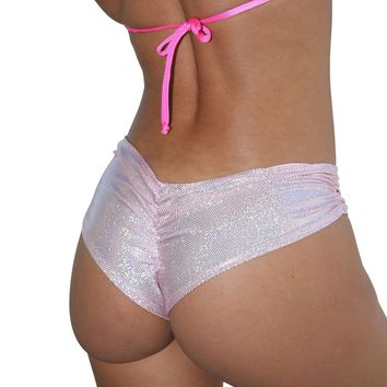 Pink Cheeky Booty Shorts Holographic Rave Wear