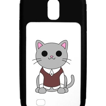 Cute Sweater Vest Cat Design Galaxy S4 Case  by TooLoud