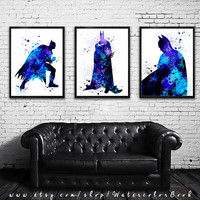 Buy 2 Get 1 FREE!!! Batman set Watercolour Painting Print, watercolor painting, Batman poster, Batman art, Batman print, set art, art print