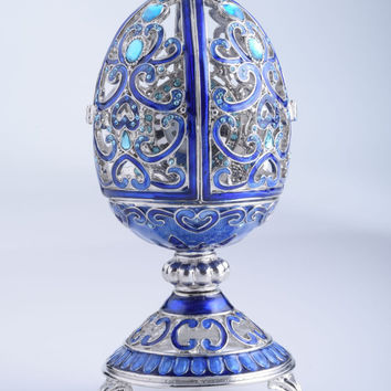 Silver & Blue Faberge Egg Trinket Box with a Clock on the Inside Handmade by Keren Kopal Decorated with Swarovski Crystals