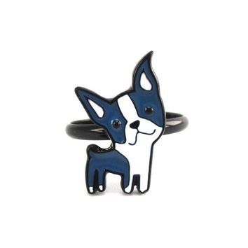Boston Terrier Shaped Adjustable Enamel Animal Ring for Dog Lovers