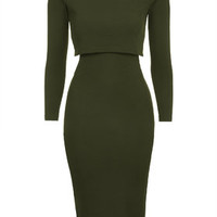 Roll Neck Bodycon Midi Dress - Khaki