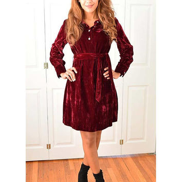 60s Burgundy Velvet Mini Dress-1960s Party Dress-Holiday-60's Cocktail Dress-Rhinestone Buttons-Shift Style-Tie Belt-Long Sleeved-M-Med