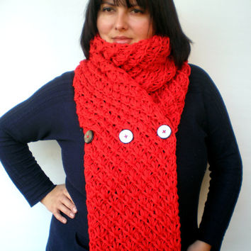 Lace Star Fire Red Scarf Wool Big  Neckwarmer Women Fashion  Chunky  Knit  Scarf NEW