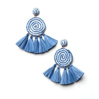Swirl Tassel Statement Earrings - Blue