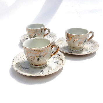 3 Vintage Japan Porcelain Demitasse Tea Cup Saucer Sets White Gold Wisteria Flower