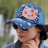 2016 fashion crystal rhinestone Hello kitty  women's baseball caps adjustable outdoor cool flower sun hat travel casual cap