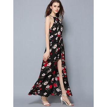Backless Asym Pleated Floral Women's Maxi Dress