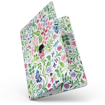 "Butterflies and Flowers Watercolor Pattern - 13"" MacBook Pro without Touch Bar Skin Kit"