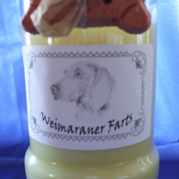 Weimaraner Farts Candle in a Recycled Liquor Bottle - 10oz