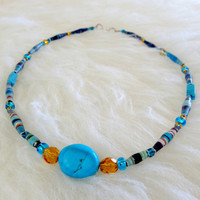 Free US Shipping - Vintage Paper Bead and Turquoise Necklace - Handmade, Blue, Yellow, Thin, 1970s, 70s, Beaded, Stones, African Beads