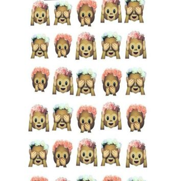 Three Girly Monkeys Emoji Iphone, Ipod or Galaxy Case