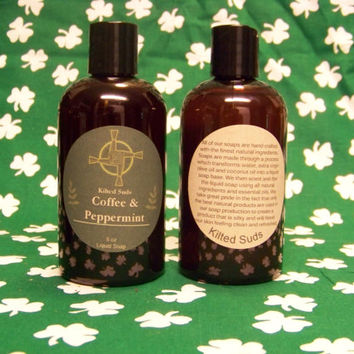 Coffee & Peppermint Soap 8oz, Shower Gel, Bath and Body, Natural Soap, Hand Soap, Liquid Soap, Liquid Hand Soap, Body Wash, Men's Body Wash