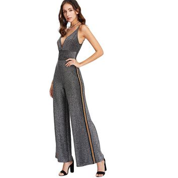Fashion Jumpsuit  Women High Waist Deep  Spaghetti Strap Sleeveless Party Jumpsuit