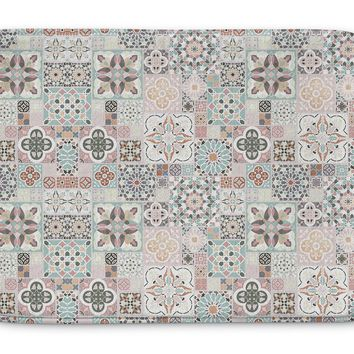 MOROCCAN TILES WITH ROSE GOLD Memory Foam Bath Mat By Pip & Lulu