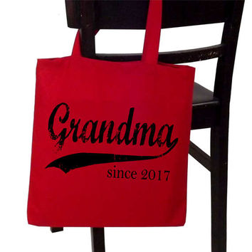 Grandma tote bag - Mother's Day gift - Grandma since ANY year - personalized tote - new grandmother gift - screen print tote