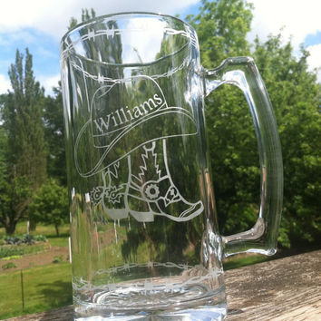 27oz Western Theme Beer Mug with Personalization (etched glass)