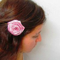 Pink Hair Flower Pin Free Shipping Rose Ribbon by FalseAngel