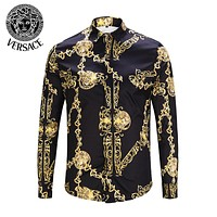 VERSACE Fashion Men Women Leisure Print Long Sleeve Lapel Shirt Top