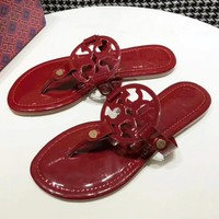 Tory Burch Fashion New Solid Color Leopard Print Slippers Shopping Leisure Shoes Sandals Women Red