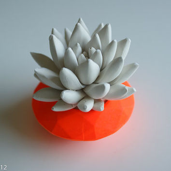 Neon Orange Modern Faceted Geometric Container, White Succulent Sculpture, Desktop, Tabletop Centerpiece