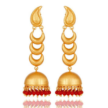 18k Gold Plated Traditional Jhumka Earrings With Sterling Silver And Coral