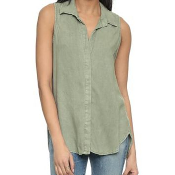 Bella Dahl Sleeveless Button Back Shirt