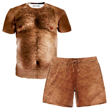 Hairy Chest T-Shirt and Shorts Rave Outfit