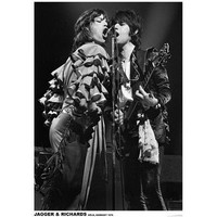 (24x36) The Rolling Stones - Mick Jagger and Keith Richards - Koln 1976 Music Poster
