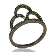 Crown Ring Tsavourite and Oxidized Sterling Silver Designer Ring