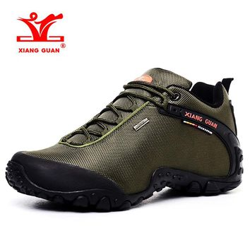 2017 XIANG GUAN Large Size Men Hiking Shoes Breathable Outdoor Climbing Shoes Sports Shoes Brown Green Black Free Shipping 81283