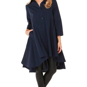 Gracia Long Sleeve Blouse Tunic | Navy Blue Tunic | Shirts and Blouses
