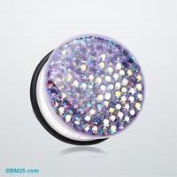 Brilliant Sparkle Gems Single Flared Ear Gauge Plug