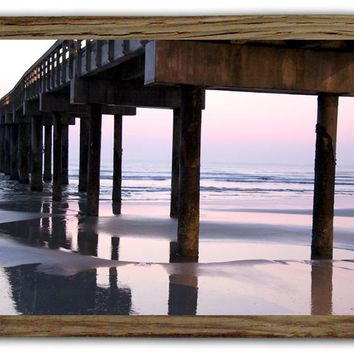Underneath The Pier Metal Sign With Barnwood Frame