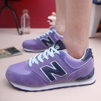 New Balance Fashion Casual All-match N Words Breathable Couple Sneakers Shoes Purple